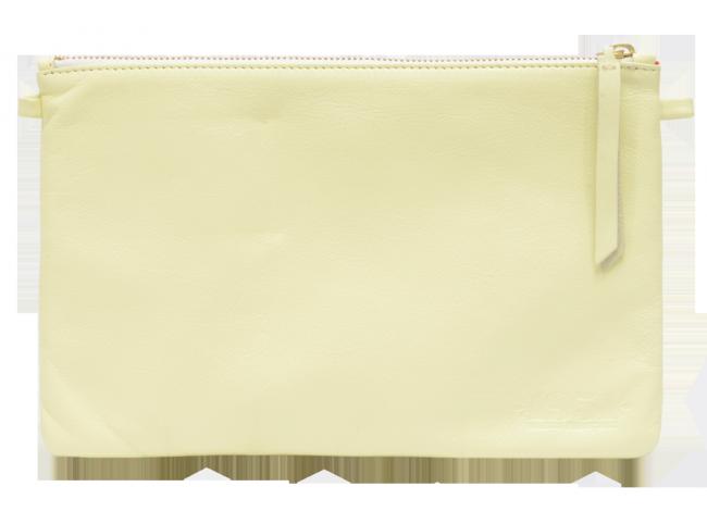 pochette en cuir v ritable coloris jaune pastel 1951. Black Bedroom Furniture Sets. Home Design Ideas